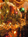 Christmas decorations on a tree - closeup.JPG
