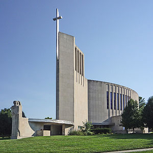 "Barry Byrne - Church of Saint Francis Xavier, Kansas City, Missouri by Barry Byrne (1949), called the ""fish church"" because of its plan, with statuary by Alfonso Iannelli and stations of the cross by Annette Cremin Byrne; recipient of the American Institute of Architects retrospective award for design excellence in 1987."