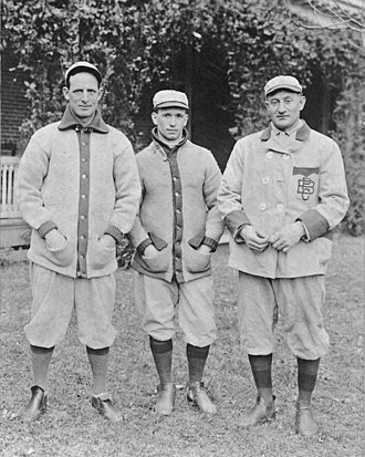 Fred Clarke - Clarke (left) with Pirates teammates Tommy Leach and Honus Wagner