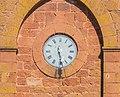 Clock on tower bell of Saint Christopher Church in Saint-Christophe-Vallon.jpg