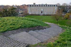 Cambridge Castle - Shire Hall viewed from the mound with the steps leading up the mound