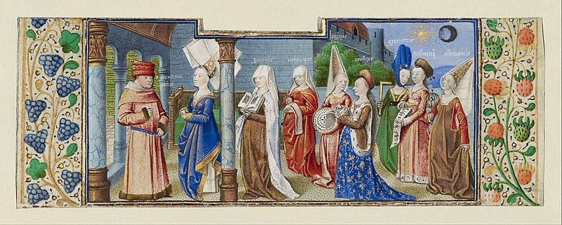 File:Coëtivy Master (Henri de Vulcop?) (French, active about 1450 - 1485) - Philosophy Presenting the Seven Liberal Arts to Boethius - Google Art Project.jpg