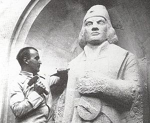Coert Steynberg - Sculpting the Dias statue, 1933