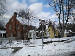 College Heights Historic District - Corner of Hillcrest Ave. and Woodland Dr. in 2013