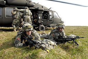 Landing zone - U.S. Army troops practice securing a landing zone
