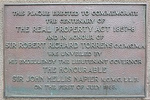 Torrens Building - Image of plaque commemorating the centenary of the Real Property Act