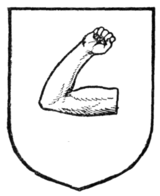 Fig. 265.—An arm embowed the upper part in fesse.