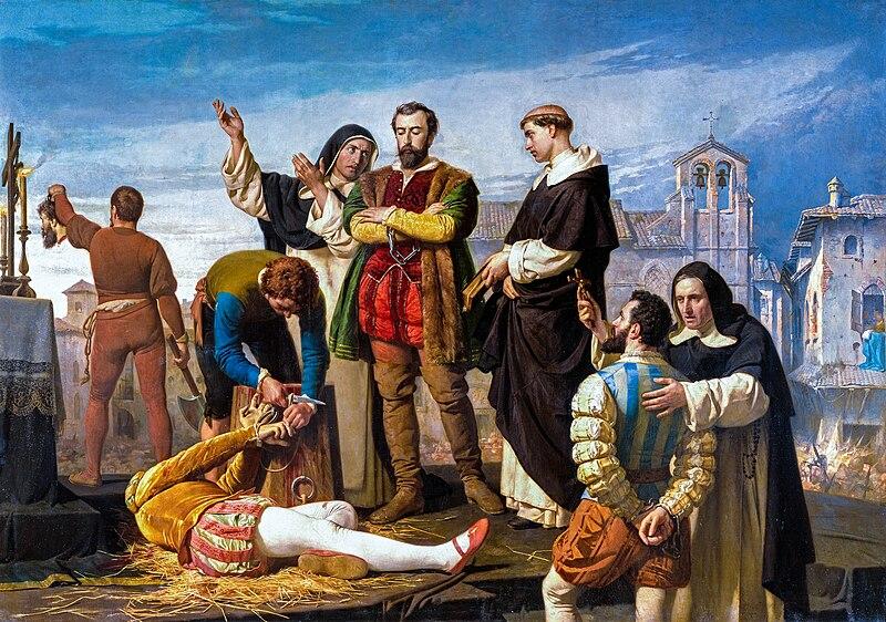 Ejecución de los comuneros de Castilla en Villalar el 24-IV-1521, visto por Antonio Gisbert, año 1860