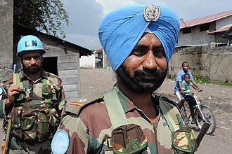 2008 Nord-Kivu campaign - Indian peacekeepers on duty, protecting aid workers.