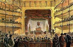 Un grabado delCongreso Obrero de 1870que se celebró en el Teatro Circo de Barcelona.
