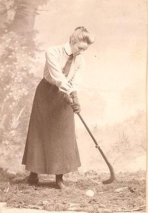 Constance Applebee - Applebee demonstrating field hockey, circa 1903
