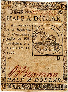 Continental Currency half dollar banknote obverse (February 17, 1776).jpg