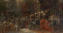 Peinture à dominantes rouges représentant une cérémonie dans un vaste et riche bâtiment officiel. À droite, le roi, une couronne de bleu et d'or sur la tête et vêtue d'un manteau rouge et d'une cape d'hermine brodée d'or, assis sur un trône d'or en haut de plusieurs marches, embrasse un personnage vêtu d'une lourde cape violette bordée d'hermine brodée d'or. Quelques marches plus bas, un évêque tourné vers la gauche semble arranger la foule des dignitaires richement vêtus, plus bas et sur tout le premier plan. Certains autres sont debout derrière le trône ; on distingue quelques femmes dans une tribune à l'arrière-plan.