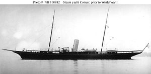 Corsair III (American Steam Yacht, 1898) prior to her World War I Naval service. Built in 1898 for financier J.P. Morgan, this yacht served as USS Corsair (SP-159) during World War I and as USS Oceanographer (AGS-3) during World War II