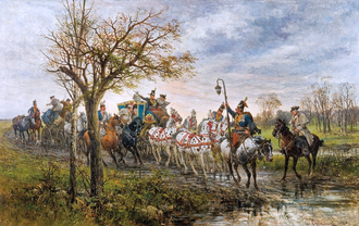 Magnates of Poland and Lithuania - Journey of a Polish Lord during the times of King Augustus III of Poland, by Jan Chełmiński, 1880.