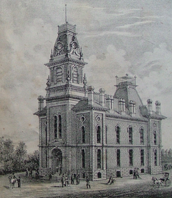 Courthouse in Warren County, Indiana from 1877 atlas