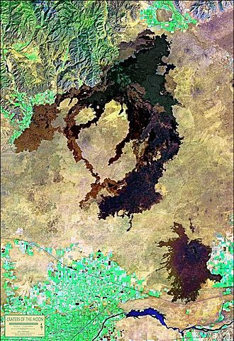 Craters of the Moon National Monument and Preserve - LANDSAT satellite photo showing the entire Great Rift volcanic zone and three distinct lava fields.