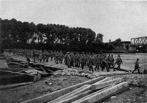 Battle of the Vistula River - Russian soldiers crossing the Vistula River in 1914.
