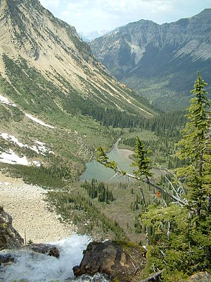 Crypt Lake Trail - A view from the brink of Crypt Falls of the valley below.