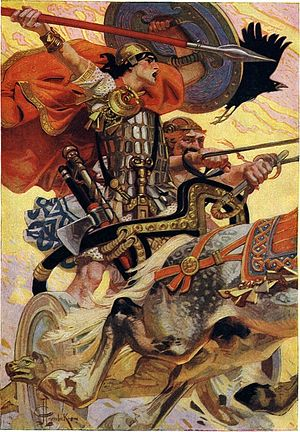 Gaelic warfare - Cú Chulainn in Battle, an artistic depiction of Iron Age Chariot warfare, though similar chariots were still used in Ireland for some time in the Early Middle Ages.