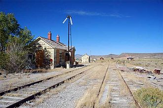 Nevada Northern Railway - Abandoned Nevada Northern trackage and depot at Currie, Nevada, 2007
