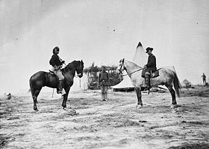 Alfred Pleasonton - General Pleasonton (right) and Captain George Custer (left) on horseback in Falmouth, Virginia.