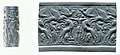 Cylinder seal and modern impression- Master of Animals between lions, griffins, Minoan genius MET 1999.325.223.jpg