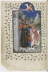 Le duc habillé de noir et sa suite quittent une ville, précédés d'un lévrier et d'un messager, le tout surmonté d'un ange.