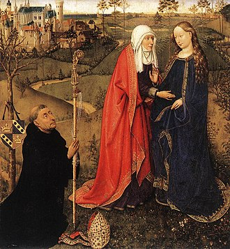 "Visitation (Christianity) - ""Visitation"" with donor portrait, from Altarpiece of the Virgin (St Vaast Altarpiece) by Jacques Daret, c. 1435 (Staatliche Museen, Berlin)"