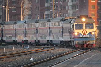 Miyun District - A passenger train arriving Miyun North Railway Station.