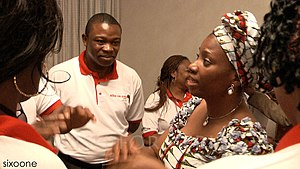 Judith Amaechi - Judith Amaechi chatting with volunteers at Government House in Port Harcourt (April 2009)