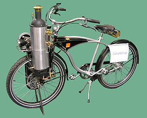 A steam-powered bicycle.