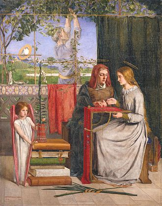 Anna (given name) - Saint Anne, mother of the Virgin Mary, depicted instructing her daughter in this painting by Dante Gabriel Rossetti. The popularity of the name Anne is largely due to this saint.