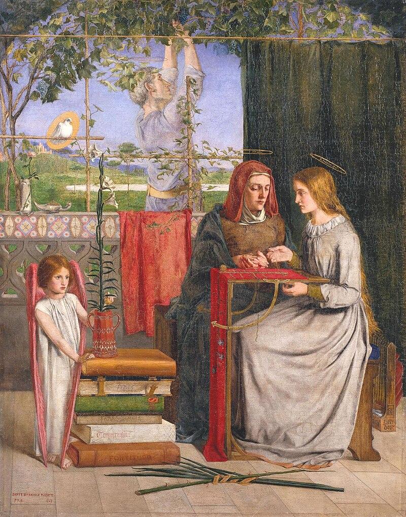 Ca s'est passé en avril ! 800px-Dante_Gabriel_Rossetti_-_The_Girlhood_of_Mary_Virgin