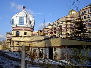 Waldspirale - The tower, resembling Russian onion domes.