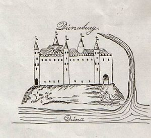 Daugavgrīva castle - Daugavgrīva Castle  in 1577.