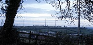 Daventry transmitting station - Daventry transmitting station viewed from the south in about 1990