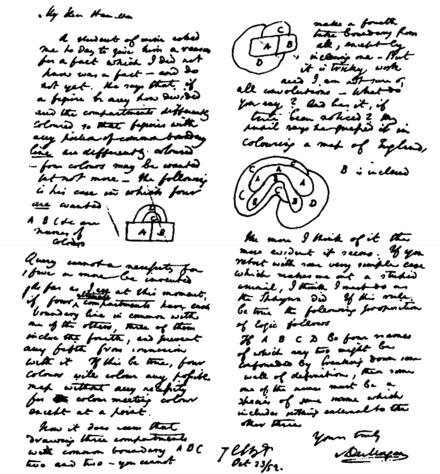 Extracto de la carta original de De Morgan a Hamilton sobre la conjetura de los cuatro colores (23 de octubre de 1852, Trinity College, Dublin)