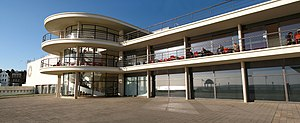 """De La Warr Pavilion - The pavilion in sunlight: """"suitable for a holiday resort in the south of England"""""""