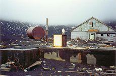 The derelict British base in Whalers Bay, Deception Island destroyed by volcano eruption