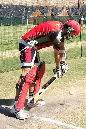 Yorker - Yorkers are very difficult to play. Here a batsman defends against one in the nets.