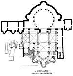 Planta da Bas�lica do Santo Sepulcro Em 324 o imperador Constantino decide que a cidade deve regressar ao seu nome antigo de Jerusal�m. Estimulado pela sua m�e Helena o imperador cristianiza a cidade, dotando-a de v�rias igrejas, como a do Santo Sepulcro.