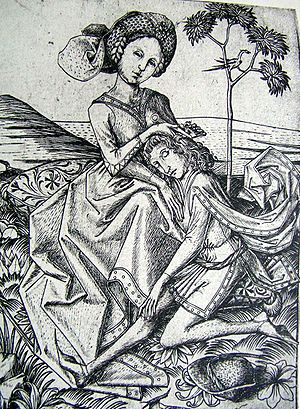 Seduction - Delilah cutting Samson's hair, c. 1460