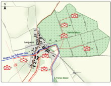 Colour map image depicting town and wood to the right of the town. Shows main access routes and positions of Allied and German forces on 14 July 1916
