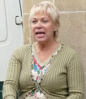 Denise Welch outside the London Studios on a b...