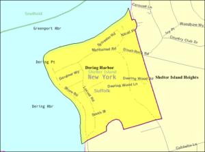 Dering Harbor, New York - Image: Dering harbor map