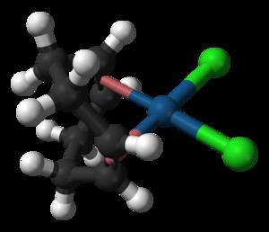 Dichloro(cycloocta-1,5-diene)platinum(II) - Image: Dichloro(cycloocta 1,5 diene)platinum(II) from xtal 3D balls A