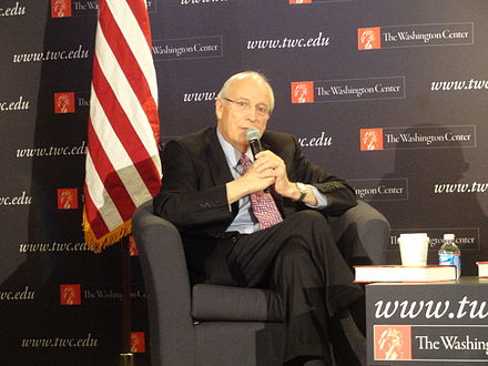 Cheney in 2012, promoting his book Dick Cheney, 2012.jpg