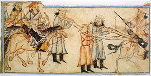 Prisoner of war - Mongol riders with prisoners, 14th century