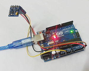 Gyroscope - A digital gyroscope module connected to an Arduino Uno board